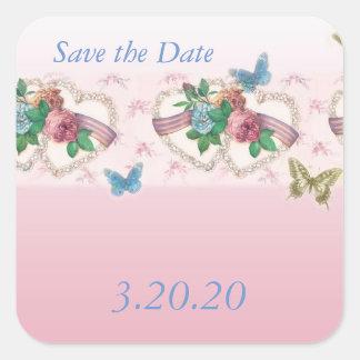Heart Lace Bouquet wedding STD Square Sticker