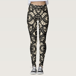Heart Lace Print Leggings