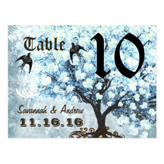 Heart Leaf Blue Tree Birds Table Number Card