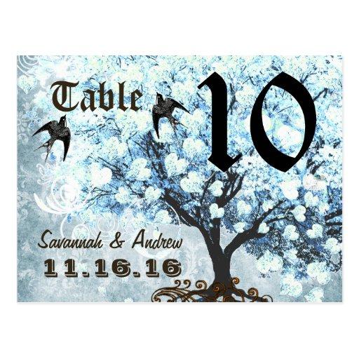 Heart Leaf Blue Tree Birds Table Number Card Postcards