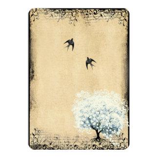 Heart Leaf Blue Tree Vintage Bird Faux Parchment Card