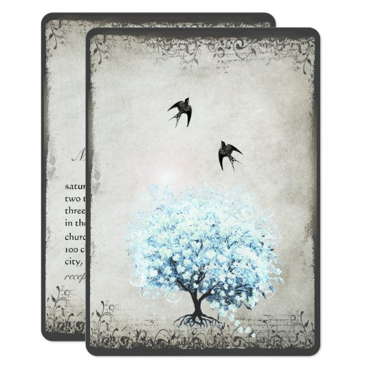 Heart Leaf Blue Tree Vintage Bird Silver Parchment