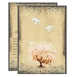 Heart Leaf Coral Tree Dove Love Bird Weddings Card
