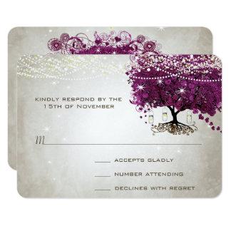 Heart Leaf Dark Sangria Tree Wedding 9 Cm X 13 Cm Invitation Card