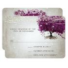 Heart Leaf Dark Sangria Tree Wedding Card