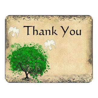 Heart Leaf Emerald Tree Dove Bird Thank You 11 Cm X 14 Cm Invitation Card