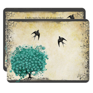 Heart Leaf Emerald Tree Love Bird Wedding RSVP Card