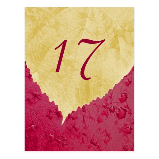 Heart Leaf - Fall Wedding Table Number Card Postcards