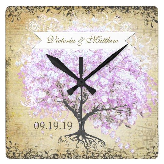 Heart Leaf Lavender Tree Vintage Bird Wedding Square