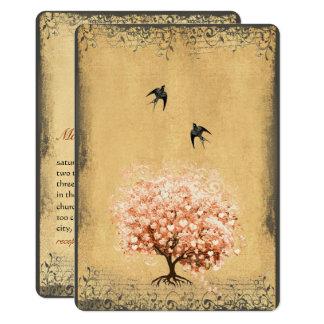 Heart Leaf Light Coral Tree Vintage Birds Weddings Card
