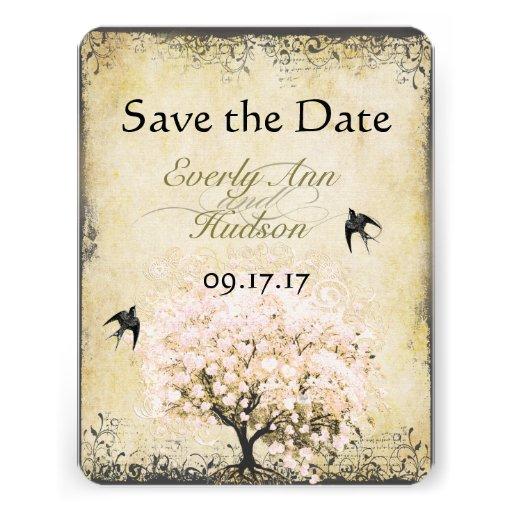 Heart Leaf Pink Tree Vintage Bird Save the Date Custom Invites