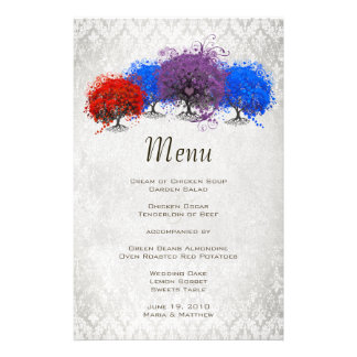 Heart Leaf Tree Red Blue and Purple Menu