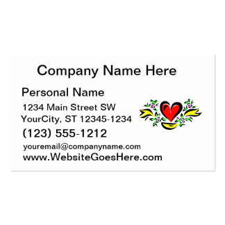 heart leaves yellow ribbon love design business card