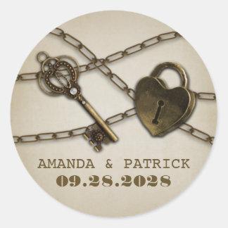 Heart Lock and Skeleton Key Wedding Favor Stickers