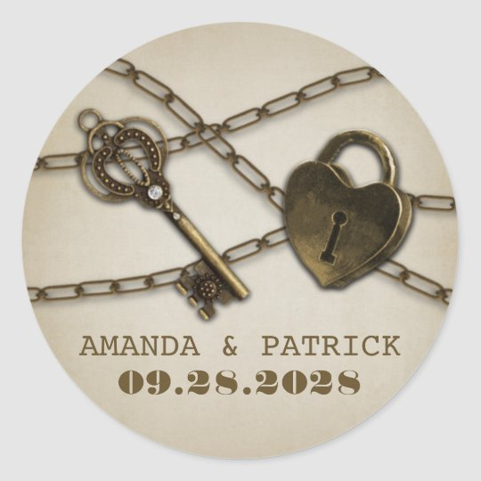 Heart Lock and Skeleton Key Wedding Favour Round