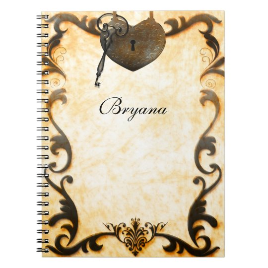 Heart Lock & Key Vintage Antique Notebook Journal