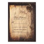 Heart lock & key vintage wedding RSVP cards Personalised Invites