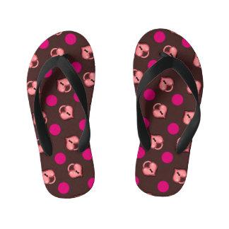 Heart Locket and Dots Chocolate Flip Flops