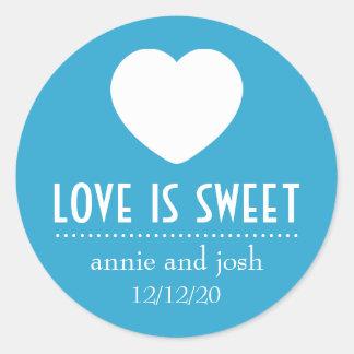 Heart Love Is Sweet Labels (Blue) Round Sticker