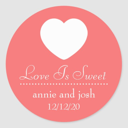 Heart Love Is Sweet Labels (Coral) Sticker