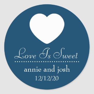 Heart Love Is Sweet Labels (Navy Blue) Round Stickers