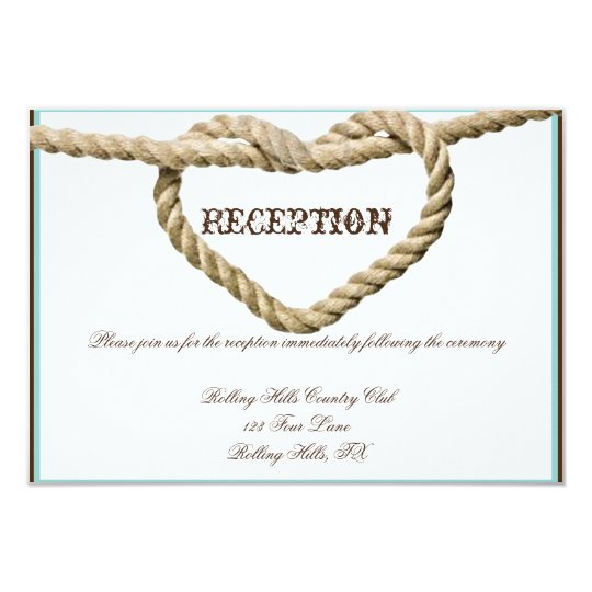 Heart Love Knot Wedding Reception Card