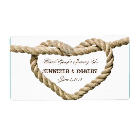 Heart Love Knot Western Water Bottle Label Shipping Label