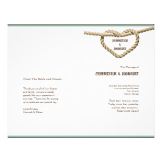 Heart Love Knot Western Wedding Program 21.5 Cm X 28 Cm Flyer