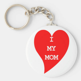 Heart Love my MoM Image Basic Round Button Key Ring