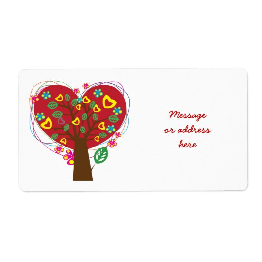 Heart love tree Valentine's custom label