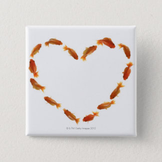 Heart made with goldfishes 15 cm square badge