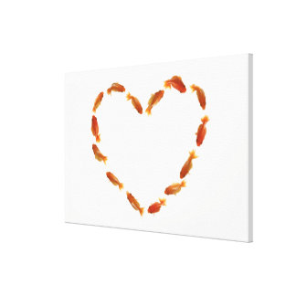 Heart made with goldfishes canvas print