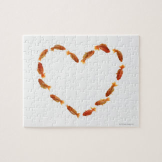 Heart made with goldfishes jigsaw puzzle