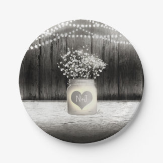 Heart Mason Jar & Baby's Breath Rustic Wedding Paper Plate