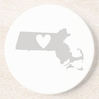 Heart Massachusetts state silhouette Beverage Coasters