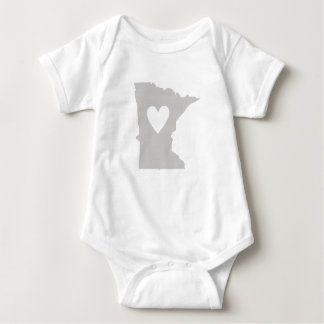 Heart Minnesota state silhouette Baby Bodysuit