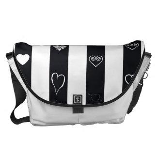 Heart Modern Black White Stripes Pattern Messenger Bags