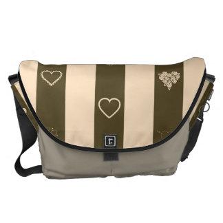 Heart Modern Donkey Brown Stripes Pattern Courier Bag