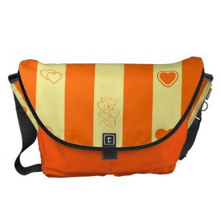 Heart Modern Orange Stripes Pattern Messenger Bags