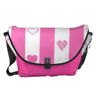 Heart Modern Pink Stripes Pattern Commuter Bag