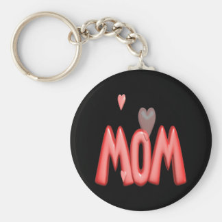 Heart Mom Basic Round Button Key Ring