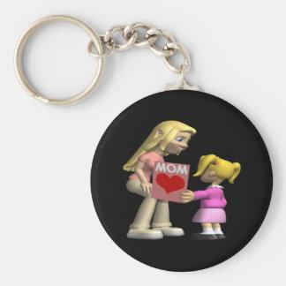 Heart Mom Basic Round Button Key Ring