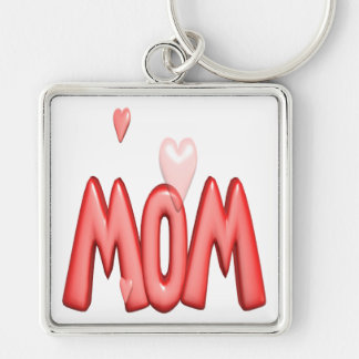Heart Mom Silver-Colored Square Key Ring