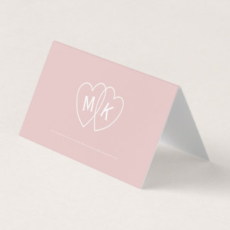 Heart Monogram Bridal Blush Pink Folded Place Card