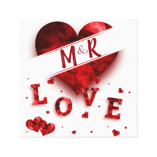 Heart Monogram Love Canvas Print