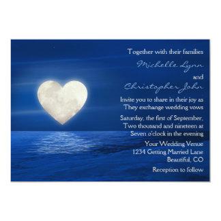 Heart Moon and Snowy Beach Winter Evening Wedding 13 Cm X 18 Cm Invitation Card