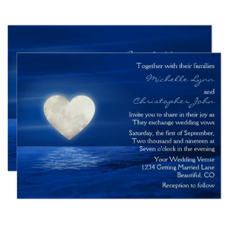 Heart Moon and Snowy Beach Winter Wedding Invite
