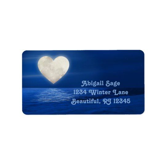 Heart Moon over Water, Snowy Beach Winter Address Label