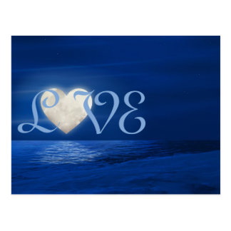 Heart Moon with Snowy Beach LOVE Winter Postcard