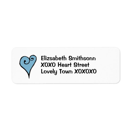 Heart Motif blue heart Return Address Label